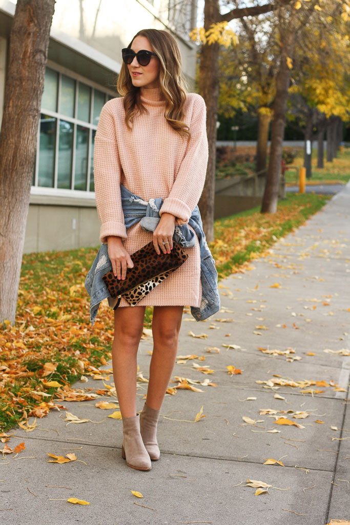 Chunky knit blush sweater dress with taupe booties and a leopard clutch
