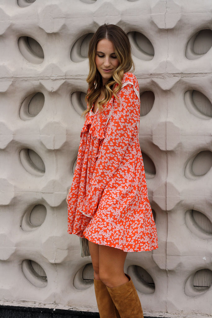 Orange Floral Ruffle Mini Dress