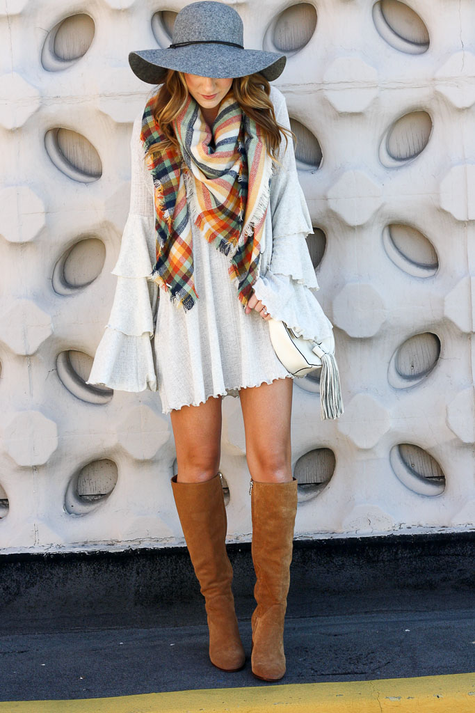 Ruffle Sleeve Mini Dress and a Plaid Scarf