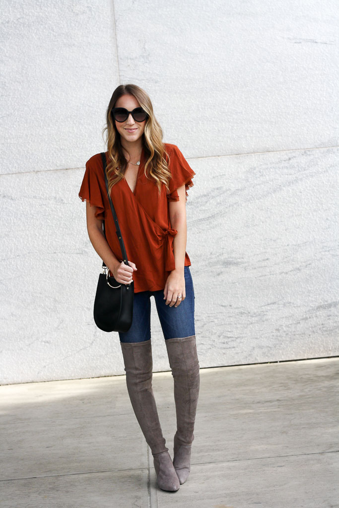 Flutter Sleeve Wrap top and Over the Knee Boots