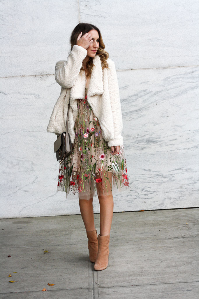 Sheer floral dress with booties and a sherpa coat