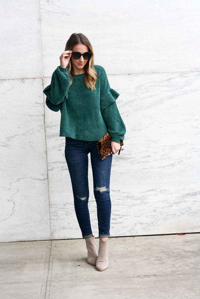 Chenille ruffle sleeve sweater
