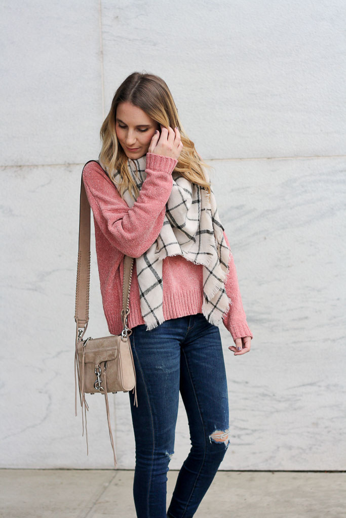 Pink chenille sweater and plaid scarf