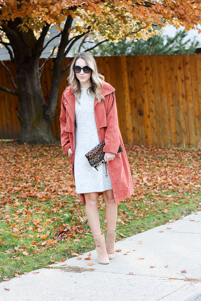 Orange suede trench coat