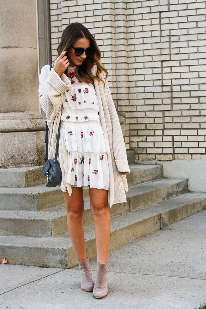Embroidered Ruffle Mini Dress