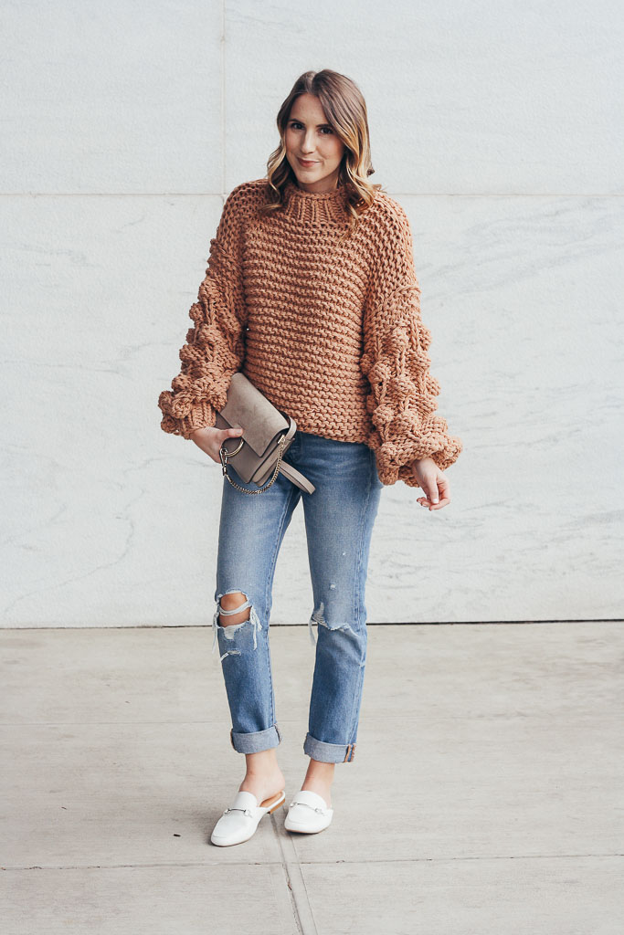 Neutral Pom Sweater Twenties Girl Style