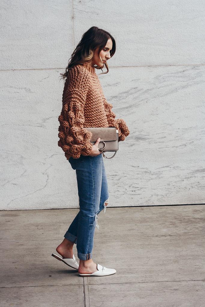 Neutral Pom Sweater Twenties Girl Style